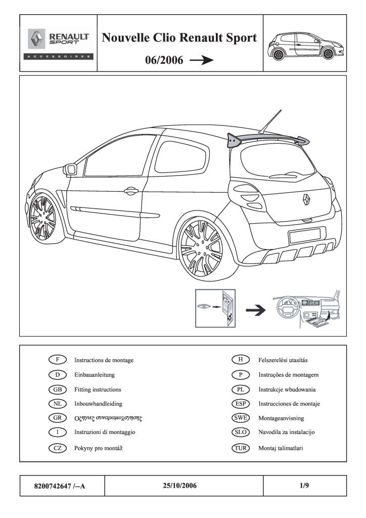 2006 Clio Iii Roof Spoiler Fitting Instructions Pdf 762 Kb Installation Instructions English En