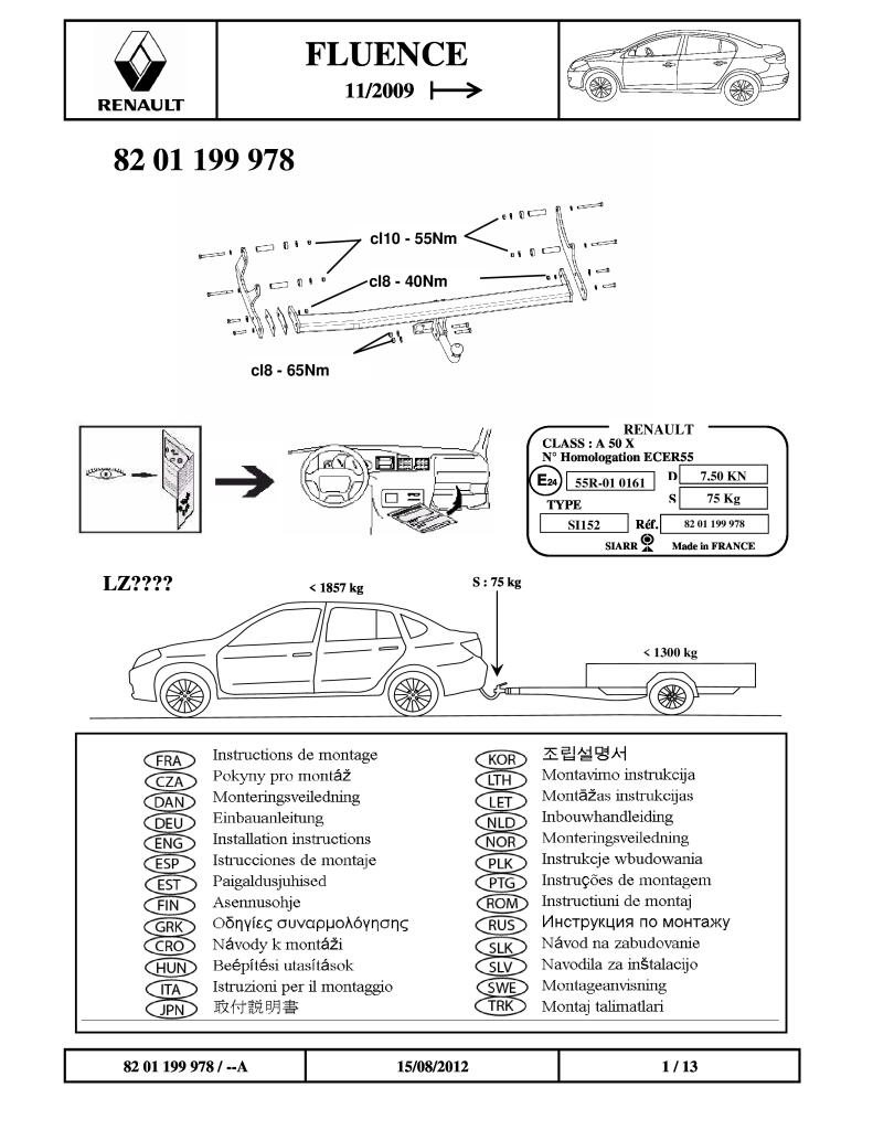 2009 Fluence Fitting Instructions Tow Bar Pdf  1 63 Mb
