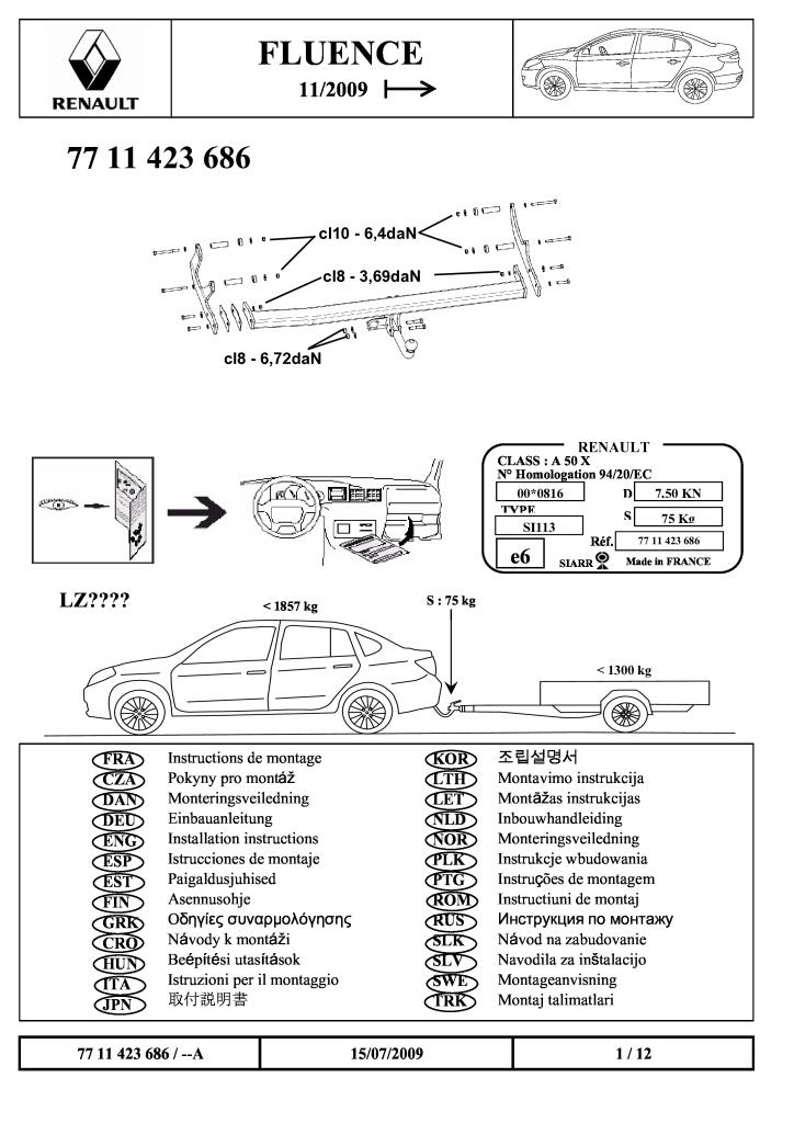 2009 Fluence Swan Neck Tow Bar Fitting Instructions Pdf