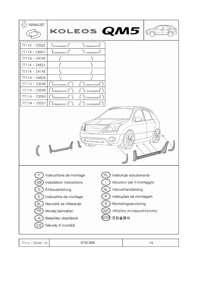 2008 Koleos Body Kit European Version Fitting Instructions