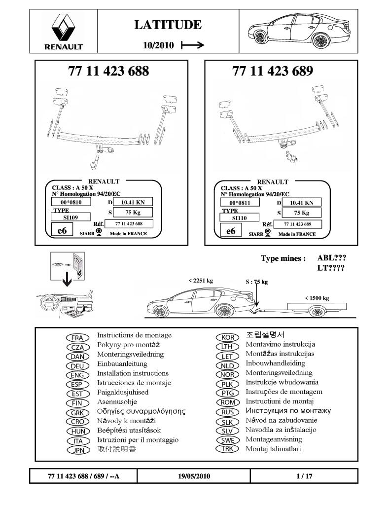 Tow Bar Fitting Instructions For Latitude Right Hand Drive