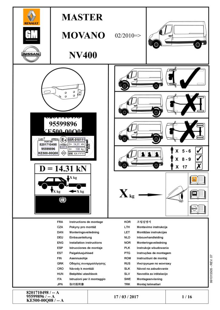 2017 Master Iii Standard Tow Bar Fitting Manual Pdf  7 54 Mb