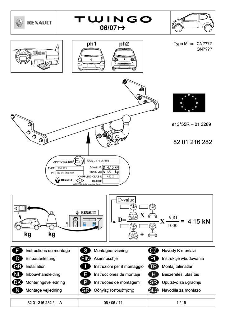 2011 Twingo Ii Rdso Tow Bar Fitting Instructions Pdf  1 43 Mb
